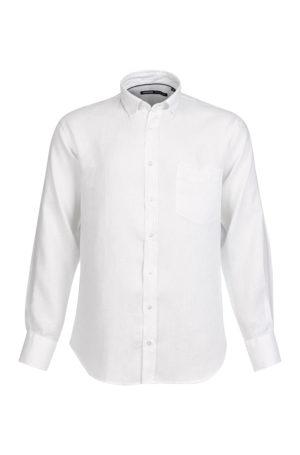 Camisa de Linho para homem fit regular, com bolso, cor branca