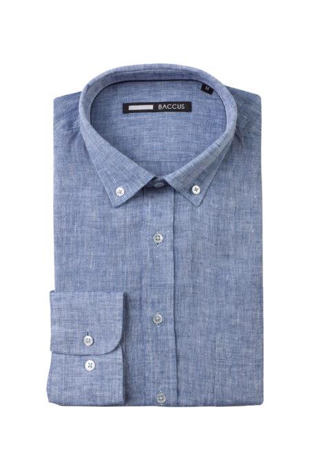 camisa de linho azul corte regular