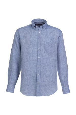 Camisa de Linho para homem fit regular, com bolso, cor azul