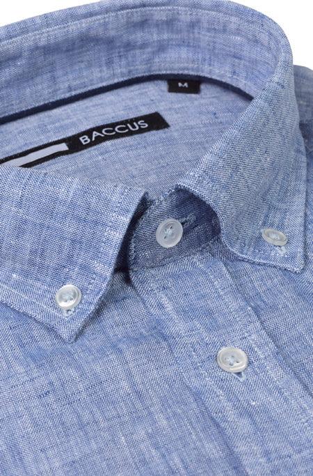 camisa de linho para homem azul verão 2021