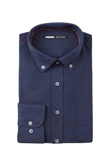 Camisa de Linho para homem azul marinho