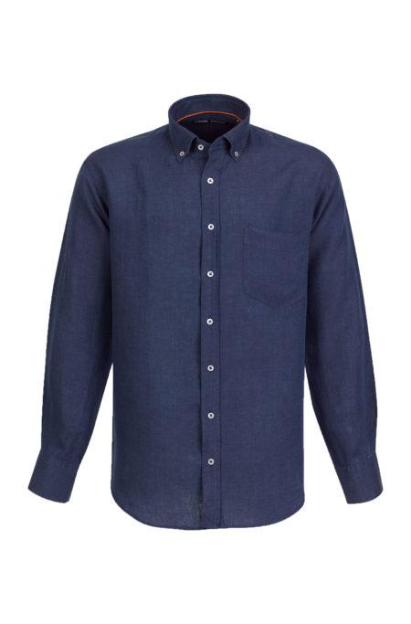 Camisa de Linho para homem fit regular, com bolso, cor azul marinho