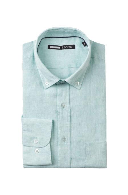 Camisa de Linho para homem verde água