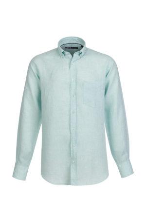 Camisa de Linho para homem fit regular, com bolso, cor verde água