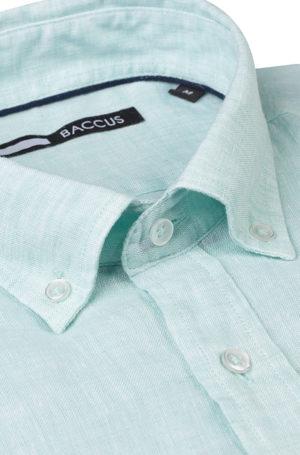camisa de linho para homem cor verde água para verão 2021