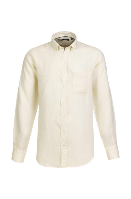 Camisa de Linho para homem fit regular, com bolso, cor amarela