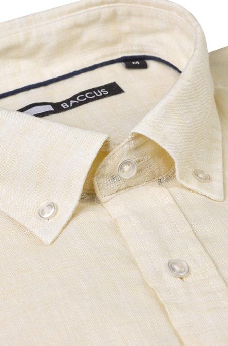 camisa de linho para homem, cor amarela verão 2021