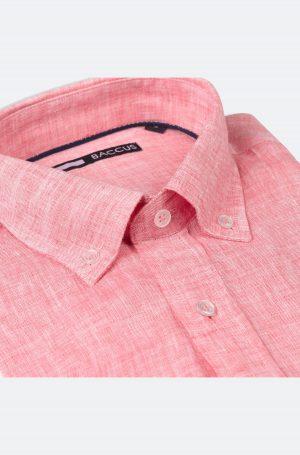 Camisa de Linho para homem fit regular, cor vermelha